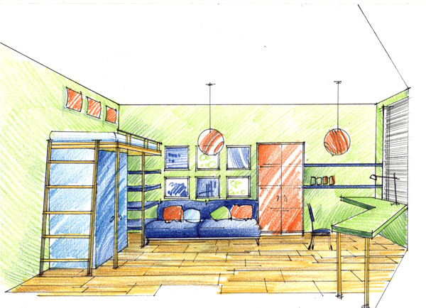 рисунок интерьера детского сада